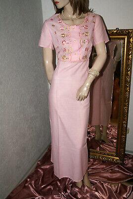 2019 Mode Langes Rosarotes Vintage Negligee * Nachtkleid Mit Blüten Bestickt M Dauerhafter Service