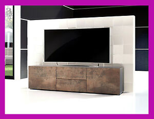 mobile porta tv tavolino tv soggiorno salotto design industriale moderno bronzo ebay. Black Bedroom Furniture Sets. Home Design Ideas