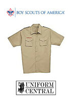 Bsa Boy Scouts Of America Tan Adult Uniform Poplin Short Sleeve Shirt All Sizes