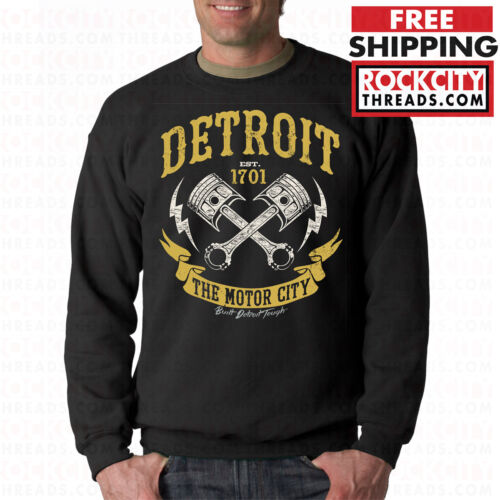 DETROIT MOTOR CITY MUSCLE CREW NECK Sweatshirt Motown Lions Tigers Red Wings DET