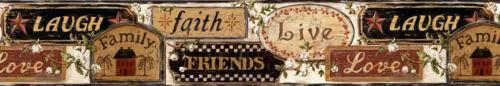 Country Folk Art Faith Love Live Signs Easy Walls Wallpaper Border FFR65401B