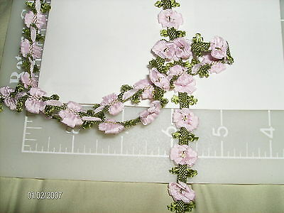 "RICOCO FLOWER TRIM~BUDS & BOWS~PINK~1/2""~ANTIQUE DOLL HAT~ DRESS~MILLINERY"