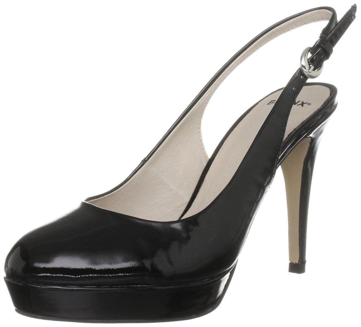 BNWB SIZE 3 5 7 BRONX BLACK PATENT REAL LEATHER SLINGBACK COURT Schuhe