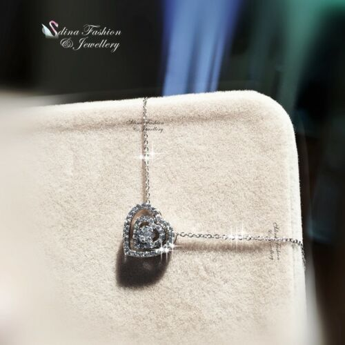 18K White Gold Filled Simulated Diamond Studded Sparking Double Heart Necklace
