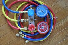 Manifold Gauge5ft Hose Set For R22 R134a R404a Alloy Body Ac Hvac Charging Tool