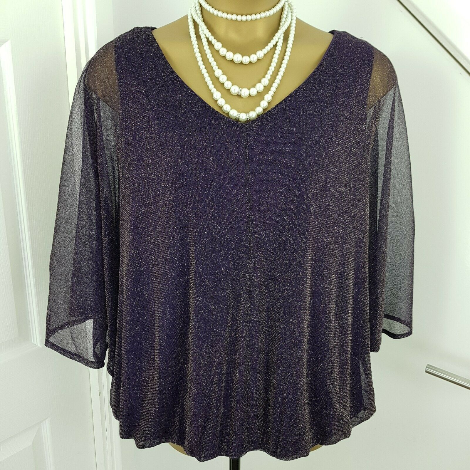 Evie Top Batwings Mother The Bride Special Occasion Shining Purple Size 28