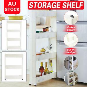 Multipurpose 4Layers Movable Storage Shelf Rack Kitchen//Bathroom Rolling Holder