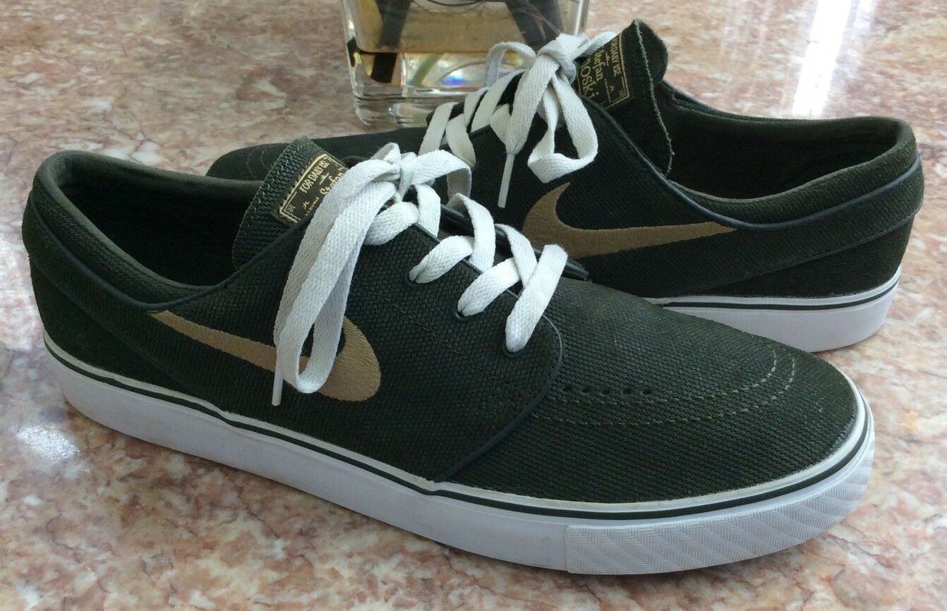 Nike SB Zoom Stefan Janoski Men's gold White Olive shoes Sz 10.5 EUC