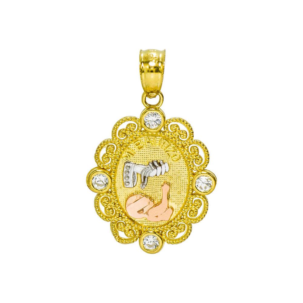 14K Tri-color gold Mi Bautizo Baptism Charm Pendant, 0.75 Inches (0.12 Cttw)