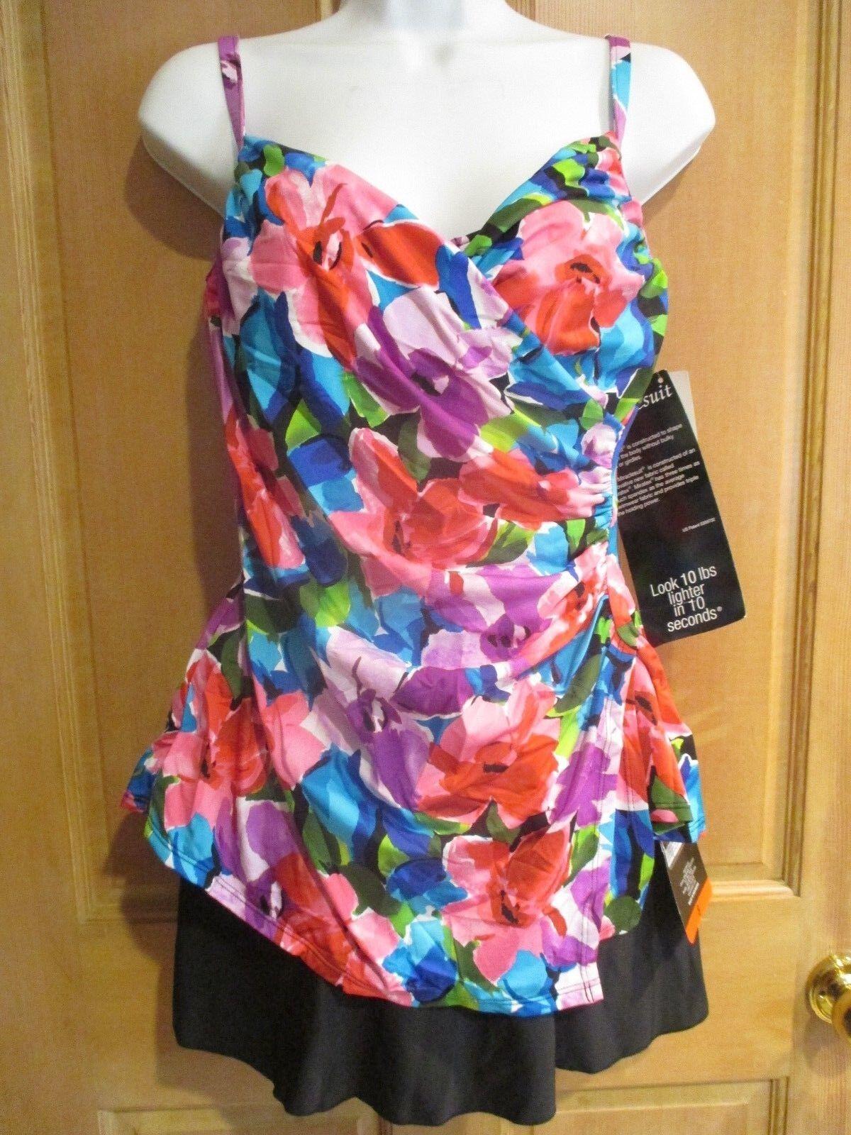 NEW MAGICSUIT MIRACLESUIT Sz 14 44 SWIMSUIT TANKINI 2 PIECE Paramore Skirt