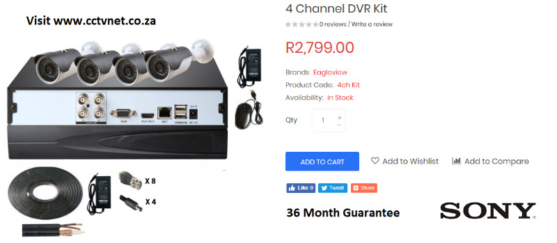 4 Channel True High Definition CCTV Kit with free upgrade to 8 Channel