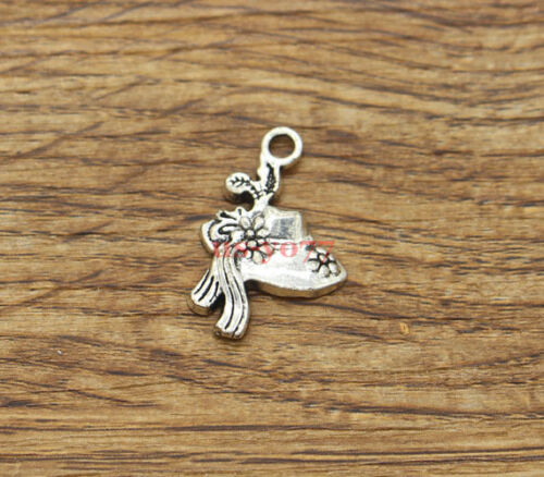 20 Lady Hat Charms Bonnet or Sunhat Fashion Charms Antique Silver 14x22 1482