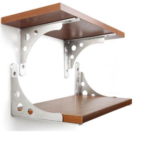 """2Pcs Wall Mounted Folding Triangle Shelf Brackets High Load Wall Supports 6/""""-12/"""""""