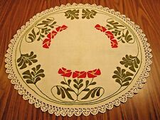Arts & Crafts Era Best Embroidered Linen Wool Table Doily Runner Crochet Lace