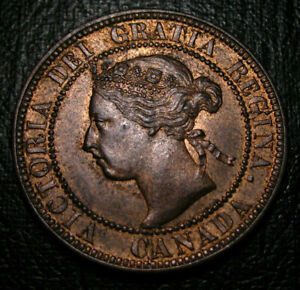 Old-Canadian-Coins-UNC-1893-Canada-HIgrade-Large-Cent-Beauty-Luster