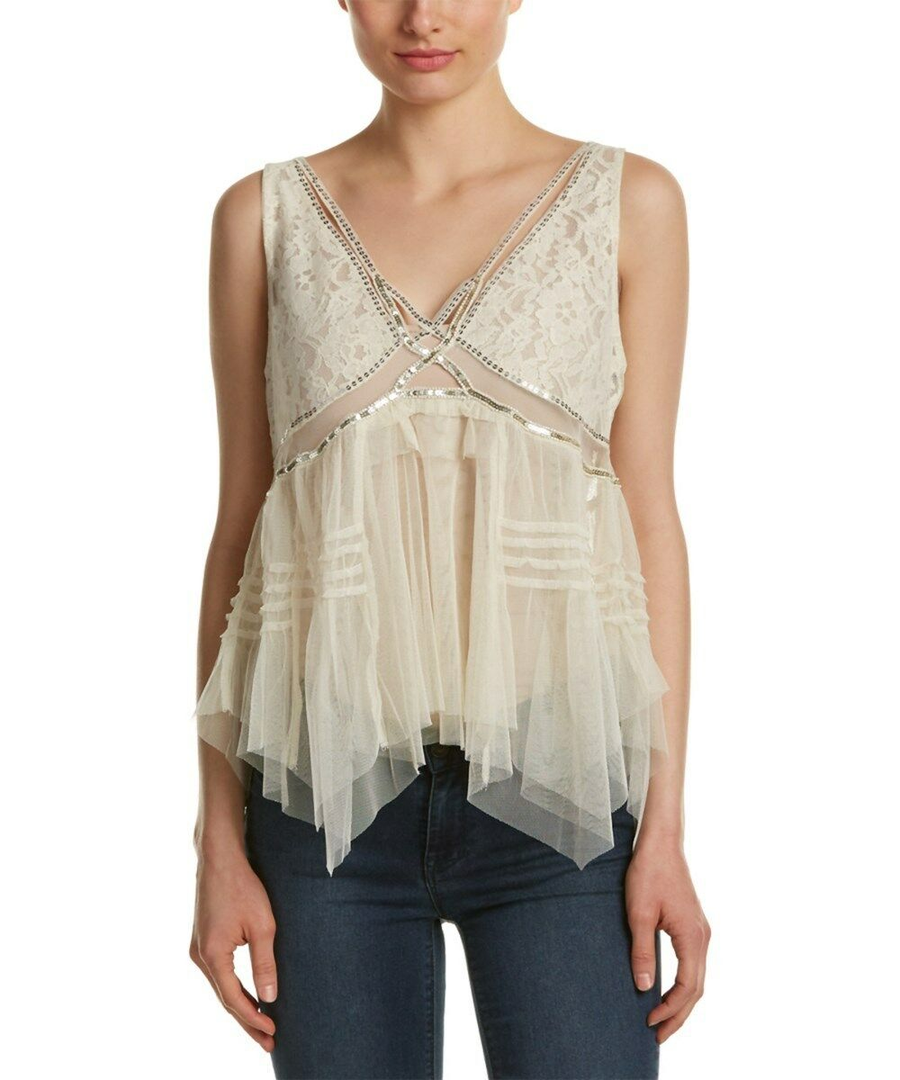 NWT FREE PEOPLE On The Town Tank in Ivory  - M,L