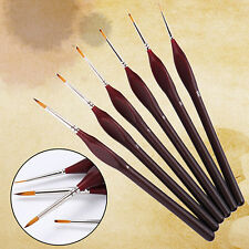 6X Professional Wooden Handle Artists Modellers Detail Paint Brushes Set Exotic