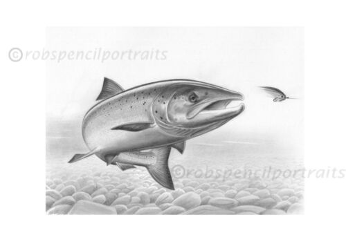 Fresh Run saumon à la mouche Jeu de pêche dessin Art Photo Willie Gunn