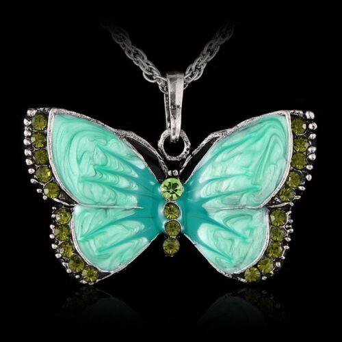 Fashion Women Enamel Butterfly Crystal Silver Pendant Necklace Chain Jewelry Hot