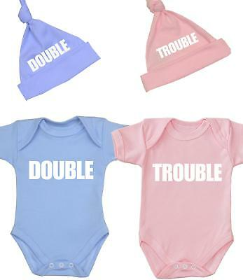 BabyPrem Baby Knotted Hats TWINS /' DOUBLE TROUBLE /' Cotton Boys Girls Pink Blue