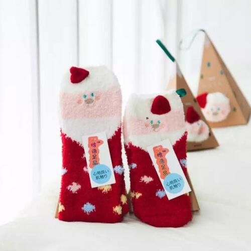 Women Girl Winter Cute Christmas Printed Warm Coral Fleece Sock Xmas Gift Box GB