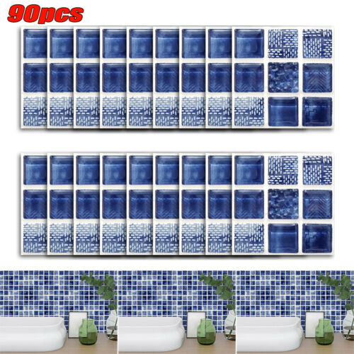 Wall Tiles Square Mirrow Stickers Self Square Adhesive Home Art Decors Stick UK