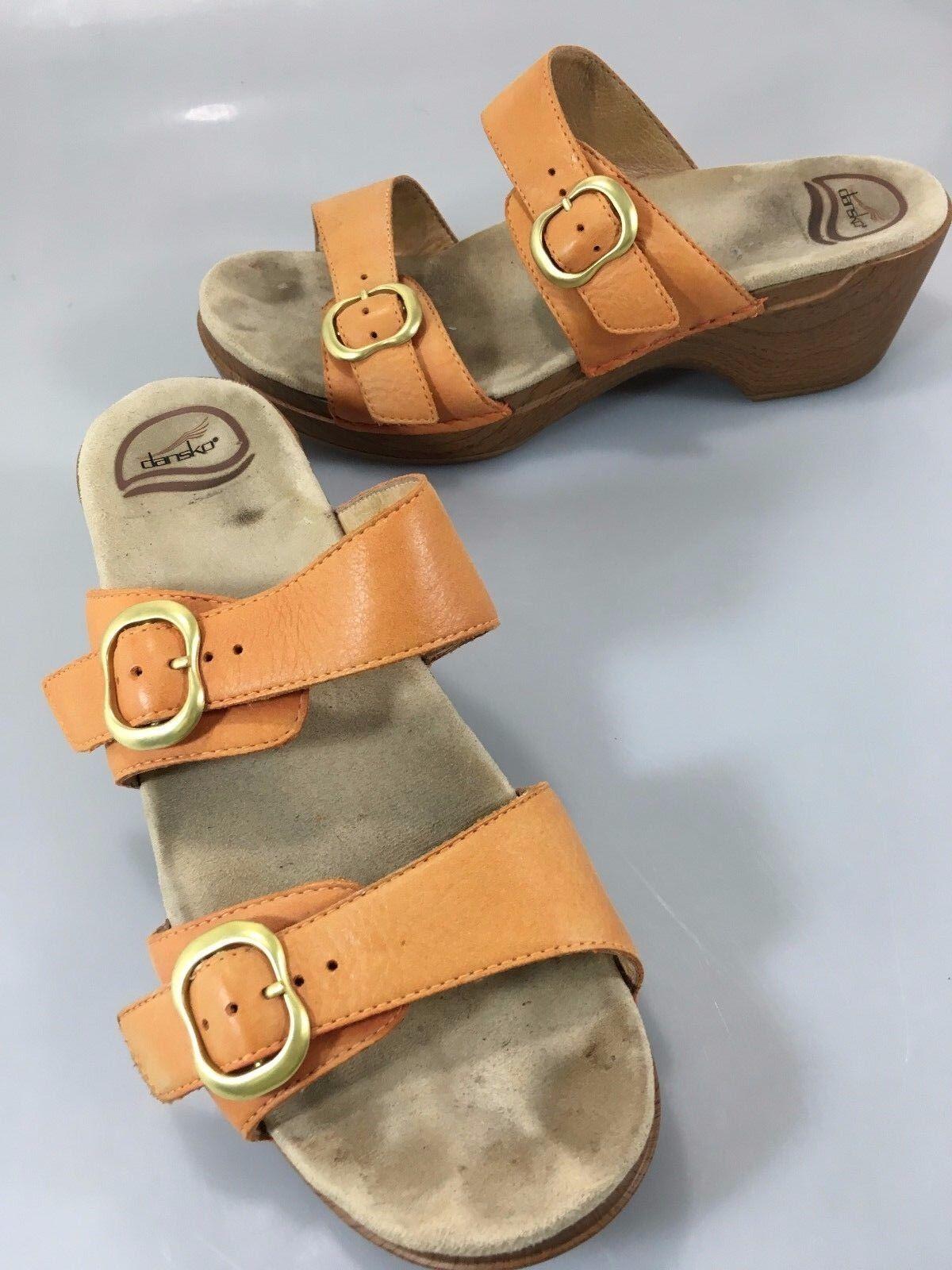 Dansko Womens 41 EU 10.5-11 US Sophie orange Leather 2 Strap Slide Sandals