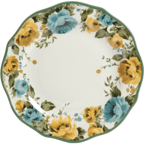 The Pioneer Woman Rose Shadow 12-Piece Dinnerware Set Home Kitchen Dine Plate
