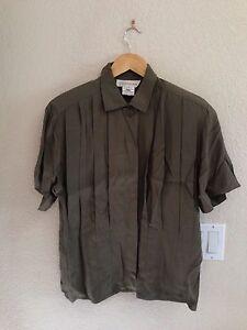 Jones-New-York-Taupe-Button-Up-Shirt-Size-6
