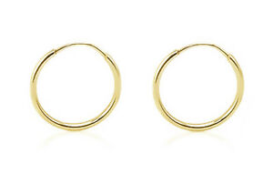 14K-Yellow-Gold-Endless-Hoop-Earrings-Small-Plain-Hoops-12-x-1-2mm