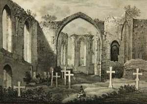 Historische-Ansicht-der-Ruine-der-St-Nikolai-Kirche-in-Bautzen-Lithographie