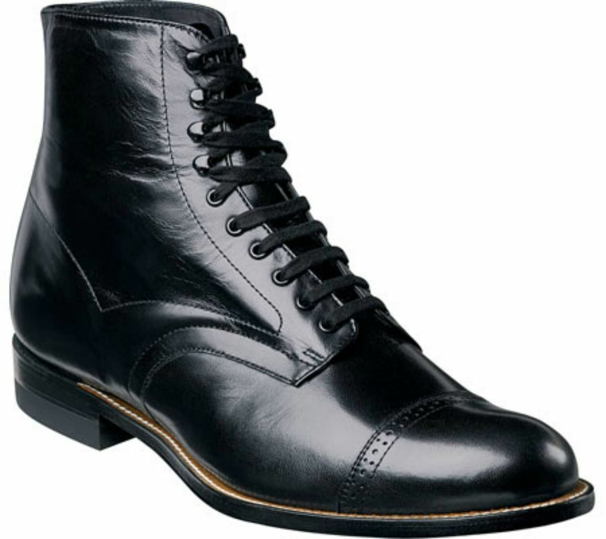 Stacy Adams Mens Madison Ankle Boot Biscuit Wide Cap Toe Black  00015-01 EE