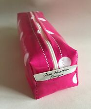 Mini makeup bag, pencil case handmade in bright pink and white spotty oilcloth