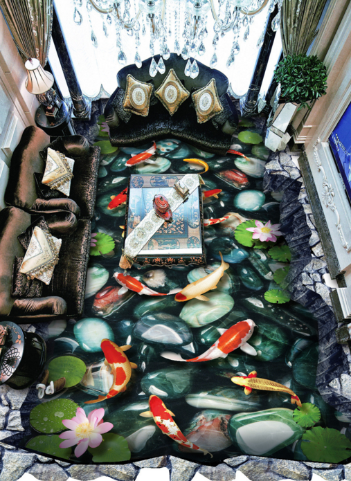 3D Stone Fishs Pond 5 Floor WallPaper Murals Wall Print 5D AJ WALLPAPER UK Lemon