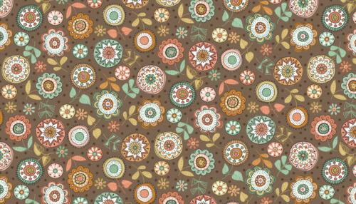 Makower Fabric Doodle Days Large Flower Hessian Per 1//4 Metre