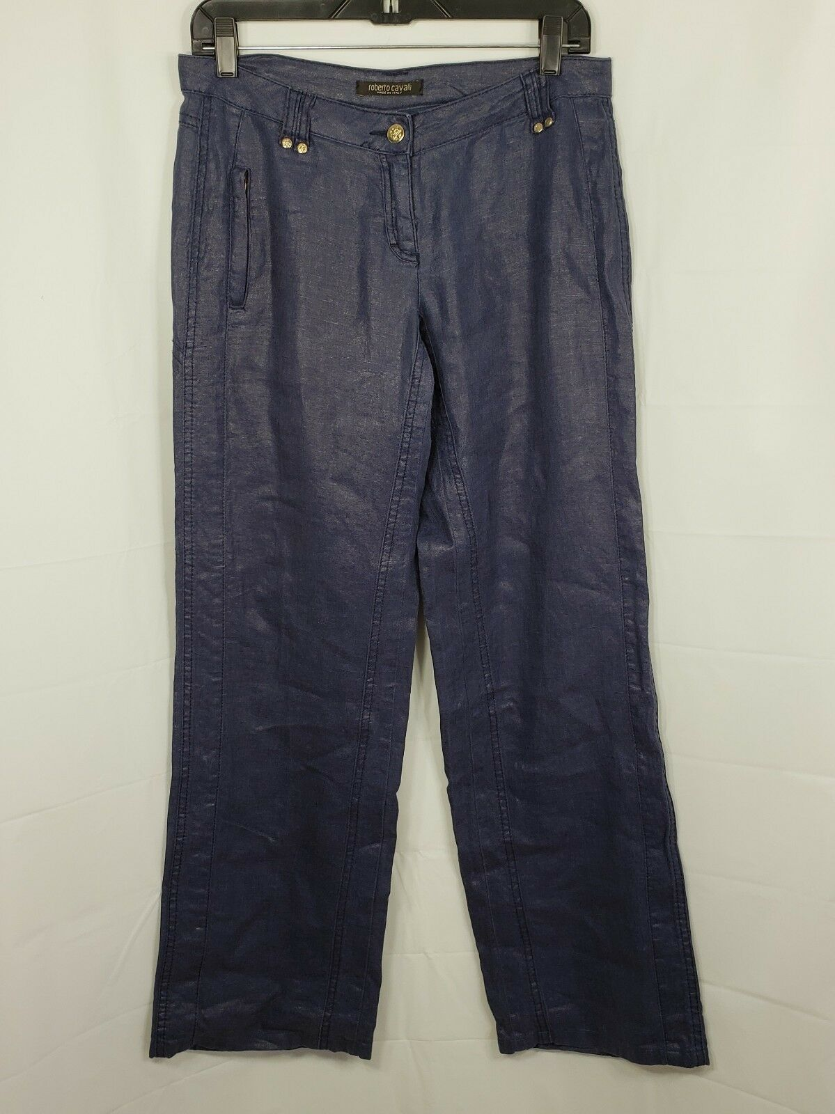 ROBERTO CAVALLI Womens Dark bluee Linen Pants gold Tone Buttons  Size 26
