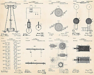 Details about Nikola Tesla Inventions Patent Drawings Prints Collection on