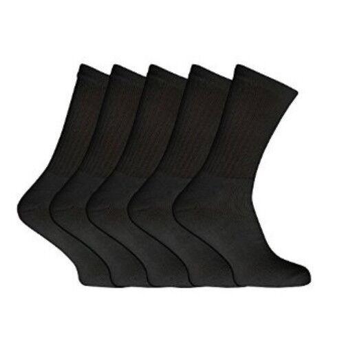 10//20 Pairs Mens Cotton Rich Cushion Sole Sport Socks Shoe Size 6-11 Black White