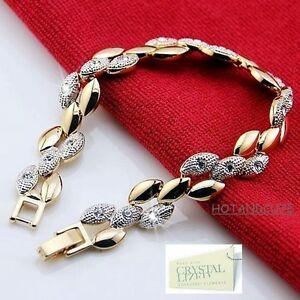 Genuine-Swarovski-Crystals-18k-Yellow-Gold-Plated-Bracelet-Nice-Gift-n-Box-Mum