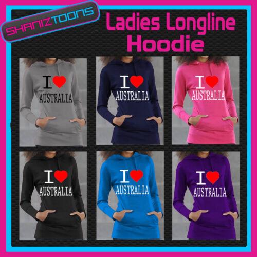 I LOVE HEART AUSTRALIA GIRLS LADIES TEENAGERS LONG LINE HOODIE