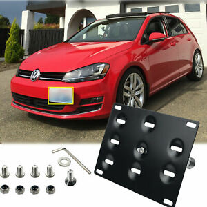 Deep Touch Black Front Bumper Tow Hook License Plate Mounting Bracket Holder for Mazda