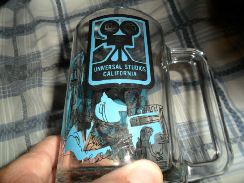 Vintage UNIVERSAL STUDIOS CALIFORNIA Glass Mug Stein Collector