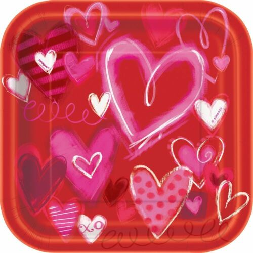 Pack of 10 18cm Square Painted Hearts Valentines Party Plates