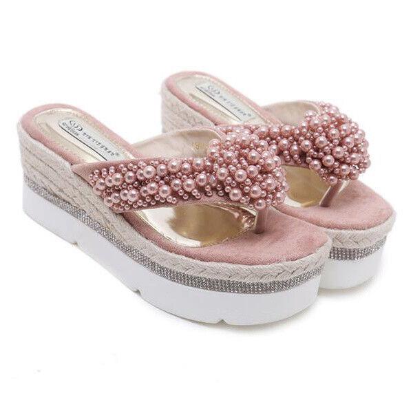 Sandali ciabatte rosa zeppa corda 7.5 cm rosa ciabatte simil pelle simil pelle eleganti 9111 c04975