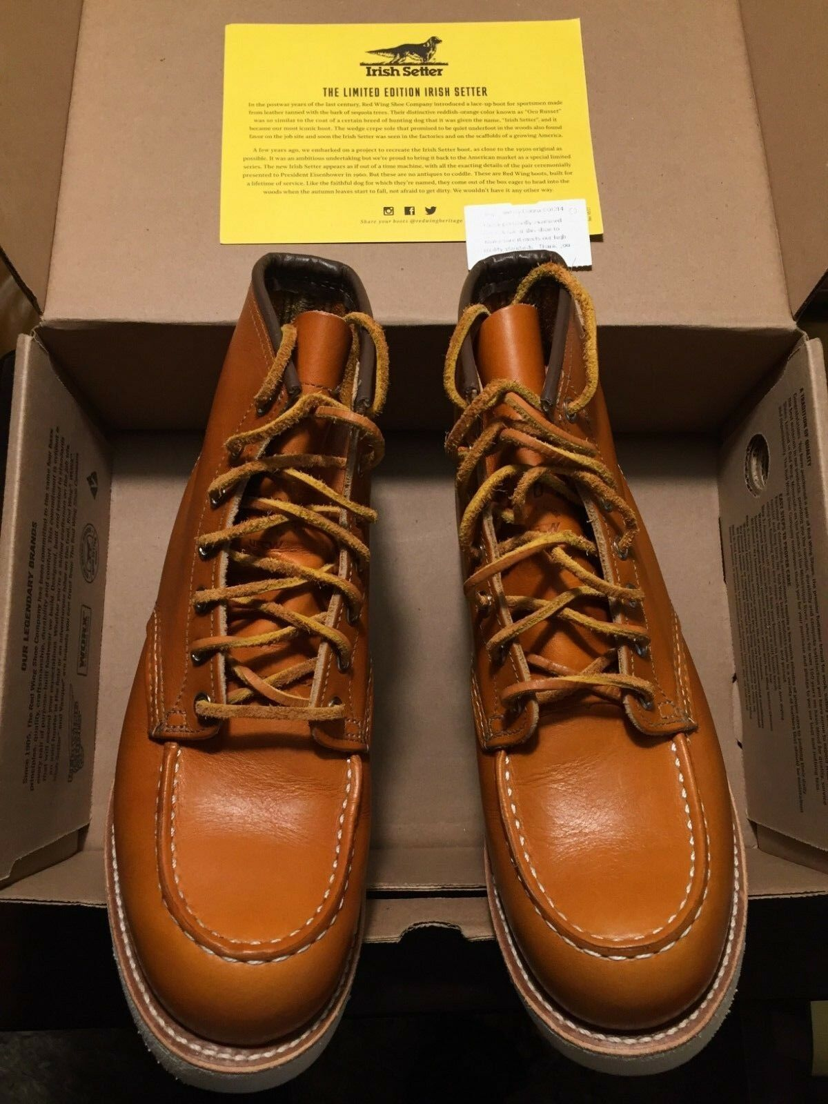 LIMITED RED WING Irish Setter Sport Boots 9875 Size 9 D gold Russett 6  Moc Toe