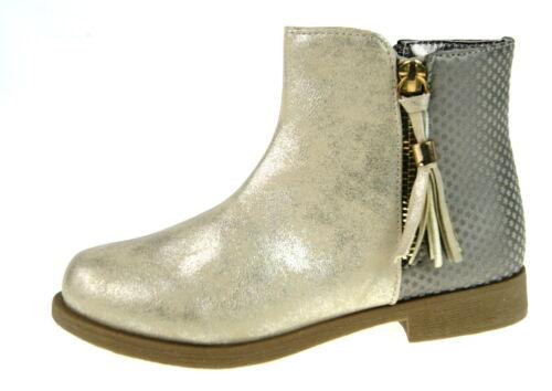 Buckle My Shoe Girls Tassel Ankle Boots Kids Glitter Star Winter Zip Shoes Size