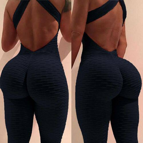 Women Anti Cellulite Yoga Pants Butt Lift Jumpsuit Gym Leotard Fitness Leggings