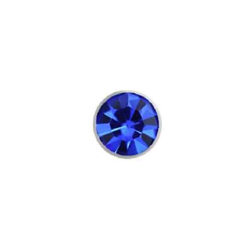 Knochen Stecker -Kristall- Chirurgenstahl 1,0 mm Ø Nasenpiercing 0,8 mm