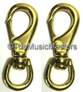 "Sporting Goods 2x Brass 4 1/2"" Swivel Eye Snap Spring Hook Boat Marine Rope Dock Line Connector To Help Digest Greasy Food"