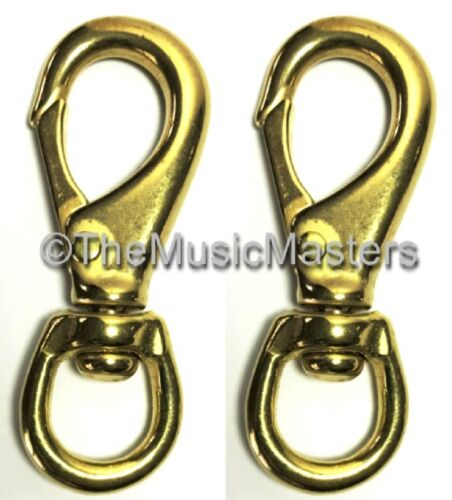 "2X Brass 4 12"" Swivel Eye Snap Spring Hook Boat Marine Rope Dock Line Connector"
